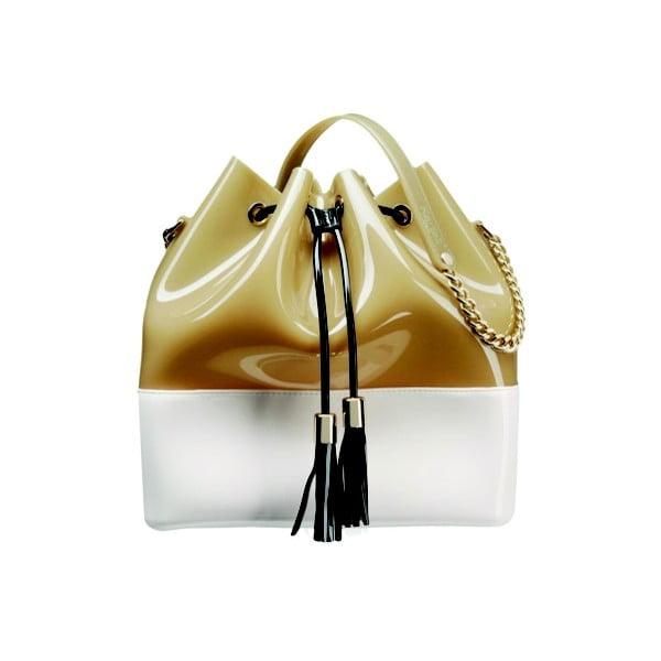 Bílobéžová plastová kabelka Kartell Grace K