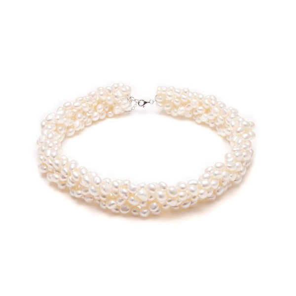 Náhrdelník z říčních perel GemSeller Twist, bílé perly