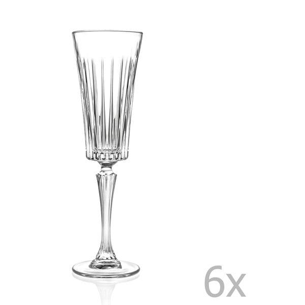 Sada 6 krištáľových pohárov na sekt RCR Cristalleria Italiana Edvige, 210 ml