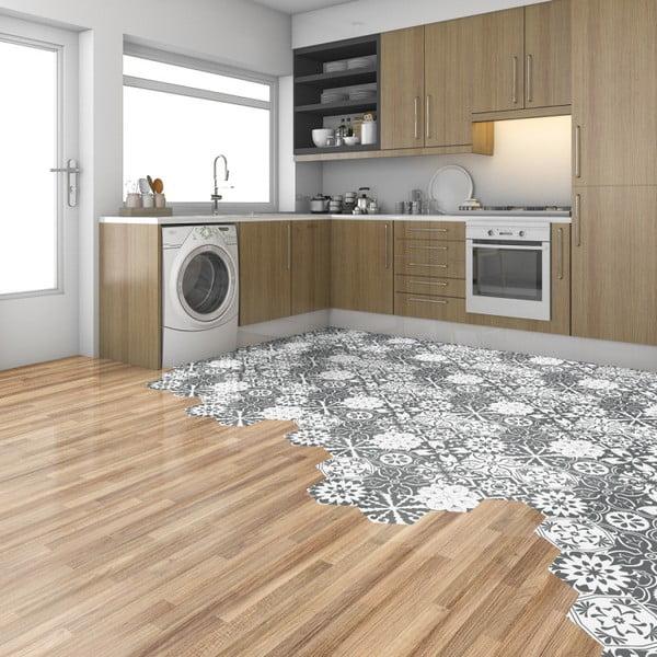 Sada 10 samolepek na podlahu Ambiance Hexagons Rosito, 20 x 18 cm
