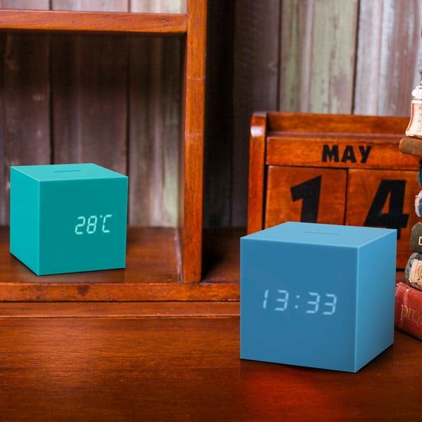 Modrý LED budík Gingko Gravitry Cube