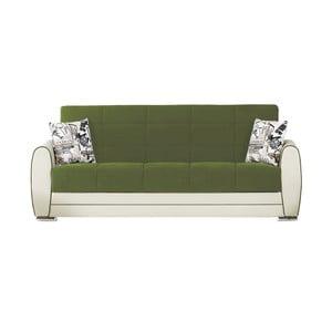 Canapea extensibilă de 3 persoane cu spaţiu de depozitare, Esidra Rest, verde - crem