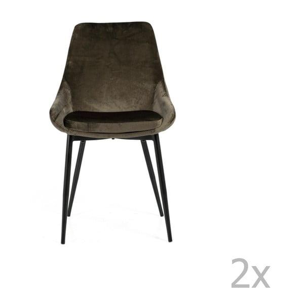Sada 2 hnedosivých jedálenských stoličiek so zamatovým poťahom Tenzo Lex
