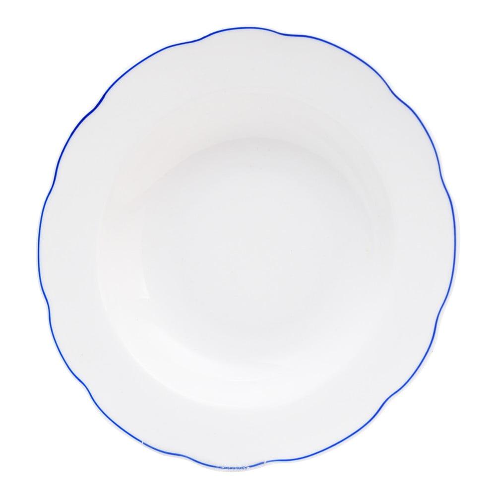 Bílý porcelánový hluboký talíř Orion Blue Line, ⌀ 21 cm