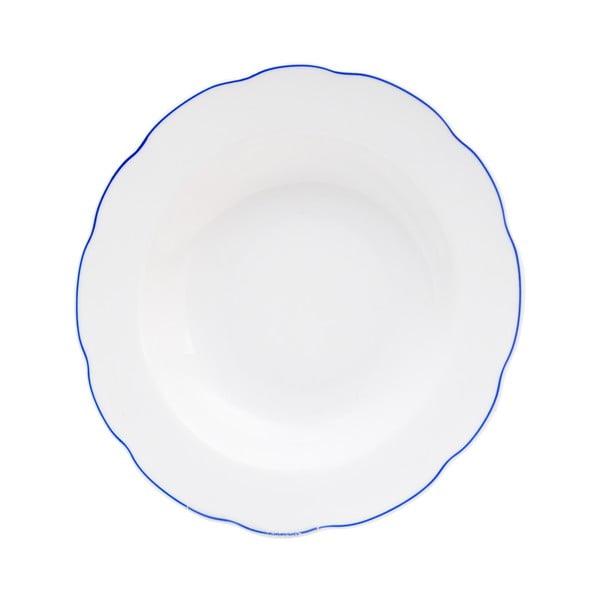 Biały porcelanowy talerz głęboki Orion Blue Line, ⌀21cm