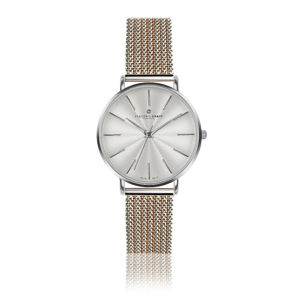 Dámské hodinky s páskem z nerezové oceli ve stříbrné a zlatorůžové barvě Frederic Graff Monte