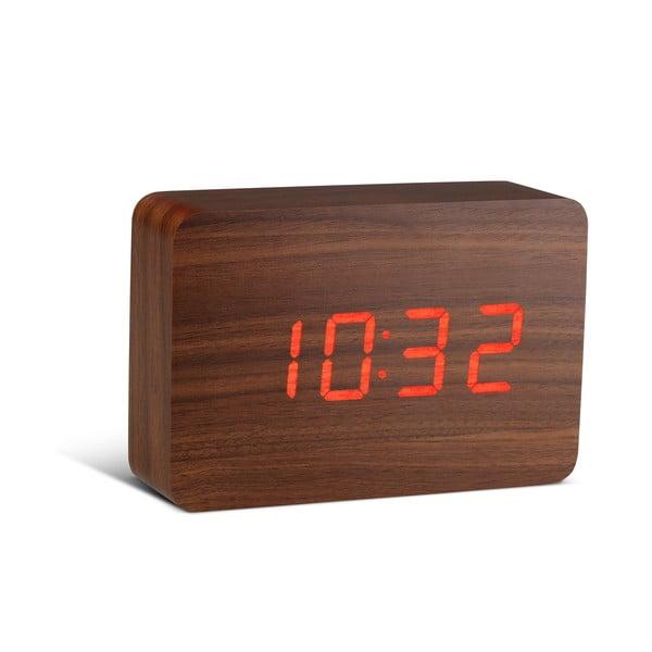 Hnědý budík s červeným LED displejem Gingko Brick Click Clock