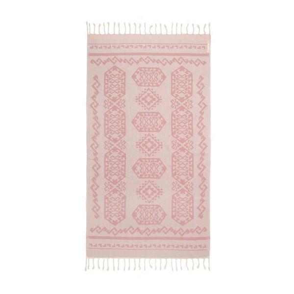 Růžová hammam osuška Begonville Ottoman, 95x175cm