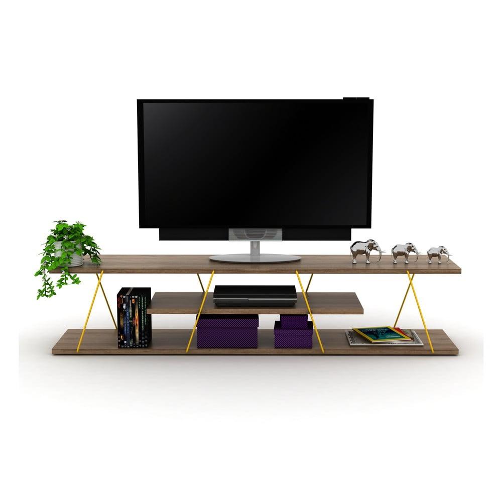TV stolek v dekoru ořechového dřeva se žlutým detailem Rafevi Tars