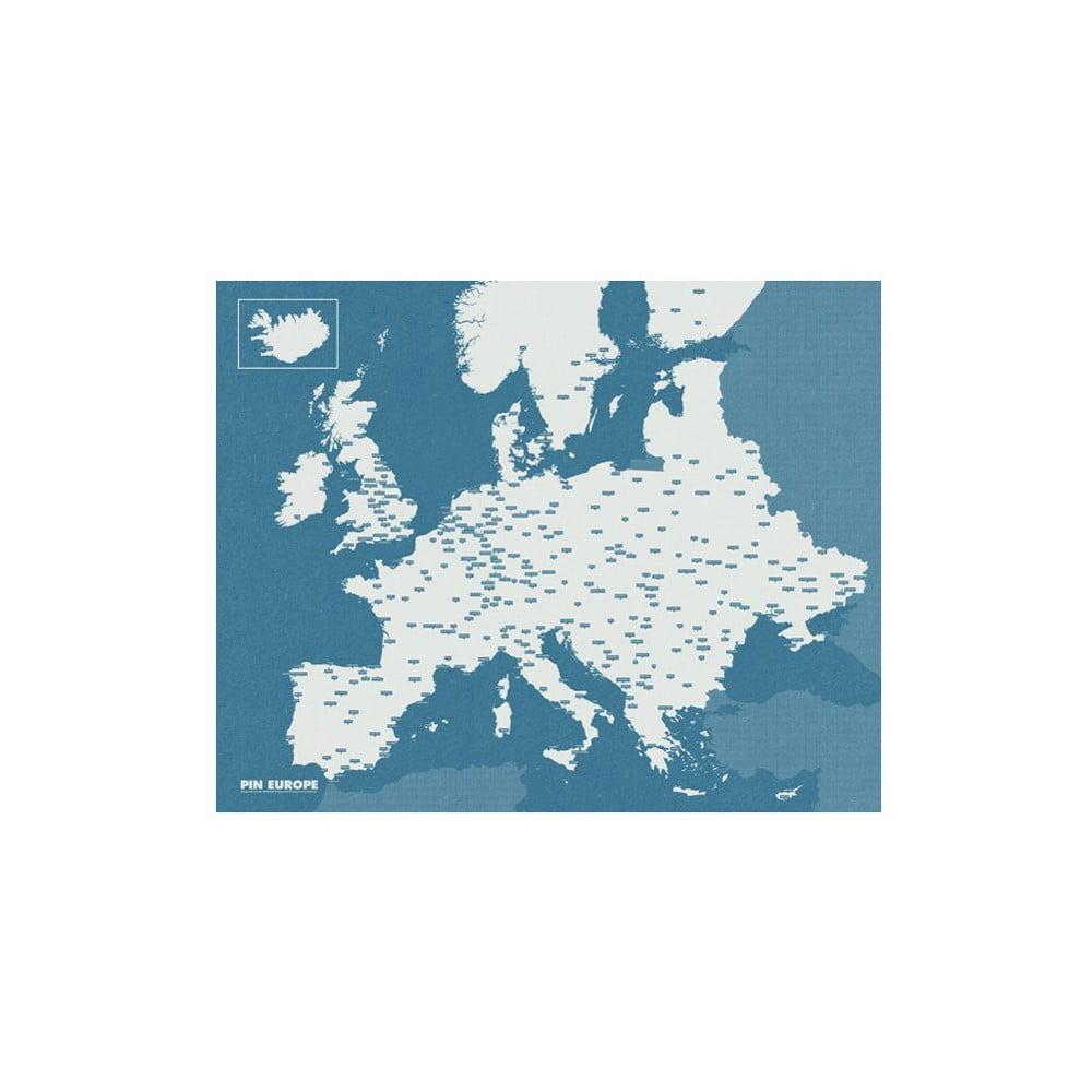 Modrá nástěnná mapa Evropy Palomar Pin World, 100 x 80 cm