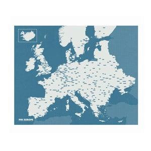 Modrá nástěnná mapa Evropy Palomar Pin World, 100x80cm