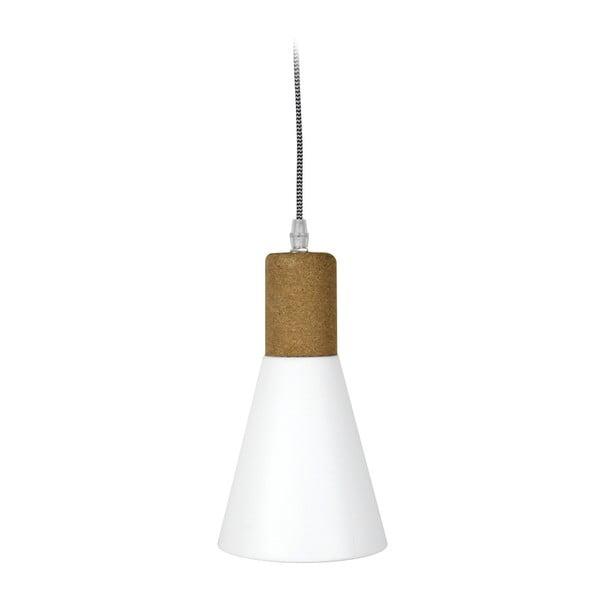 Biała lampa wisząca z korkowym detalem Red Cartel Fergus