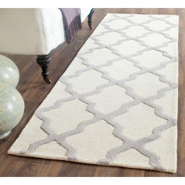 Vlněný koberec Ava 76x243 cm, bílý/šedý