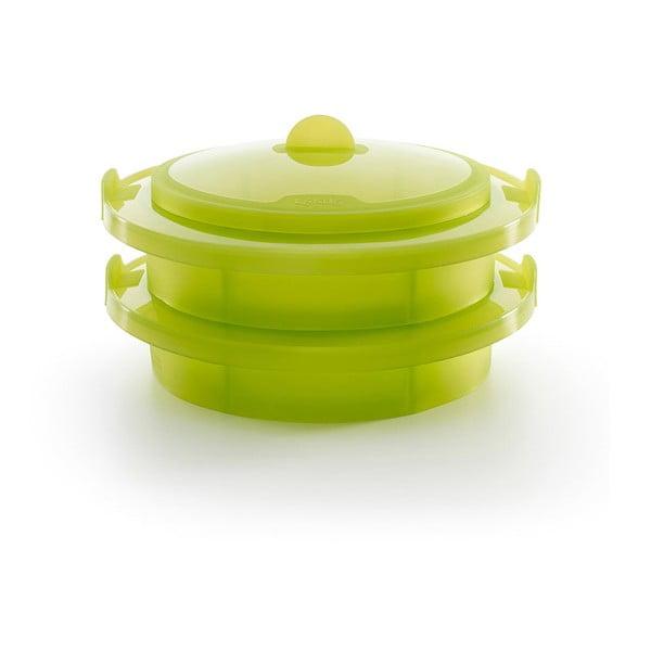 Zelená silikonová nádoba na vaření v páře Lékué Steamer, ⌀ 22 cm