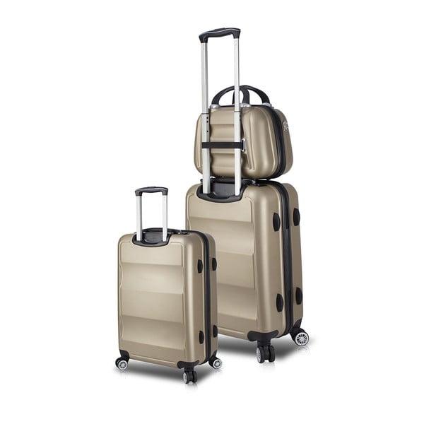 Zestaw 2 walizek na kółkach z USB i kuferka podróżnego w kolorze złota My Valice LASSO Cab Med & MU
