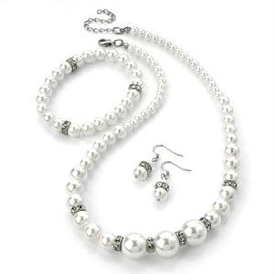 Sada náhrdelníku, náramku a náušnic Pearl White