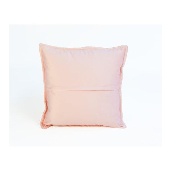 Růžový dekorativní polštář Velvet Atelier Rosette, 45 x 45 cm