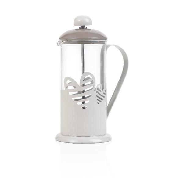 Bílý French Press na kávu či čaj Brandani Batticuore,350ml
