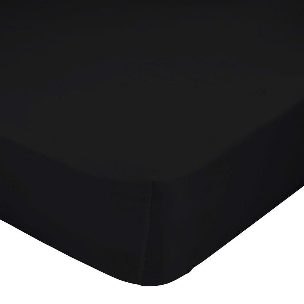 Černé elastické prostěradlo z čisté bavlny , 70 x 140 cm
