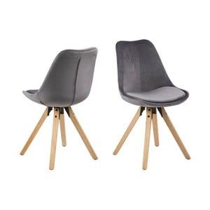 Sada 2 šedých jídelních židlí Actona Damia Velvet