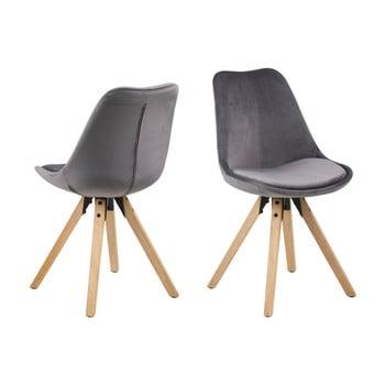 Set 2 scaune Actona Damia Velvet, gri de la Actona