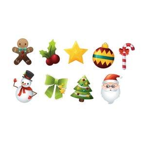 Sada 9 vánočních samolepek Ambiance Santa Claus and Snowmen