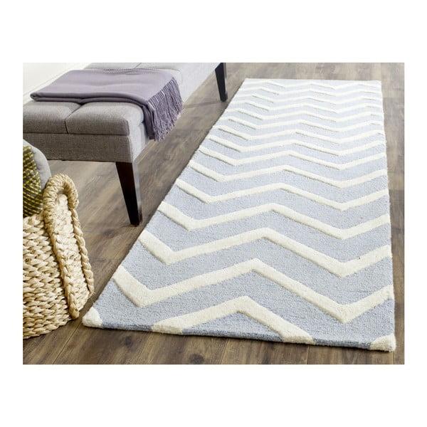 Vlněný koberec Edie Light Blue, 91x152 cm