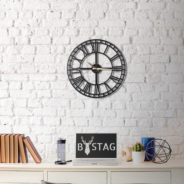 Czarny zegar ścienny Greece, 50x50 cm