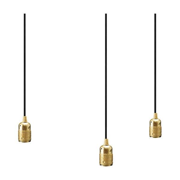 Trojice černých závěsných kabelů s objímkami ve zlaté barvě Bulb Attack Uno