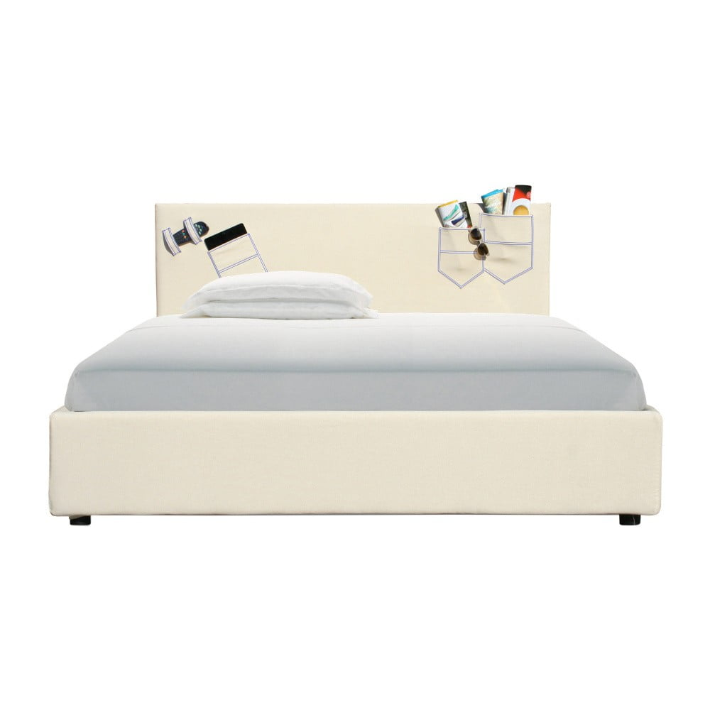 Béžová dvoulůžková postel s úložným prostorem a matrací 13Casa Task, 160 x 200 cm