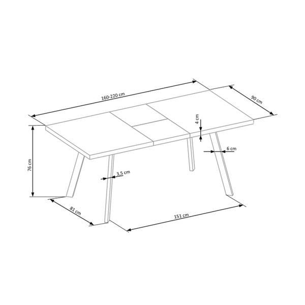 Rozkládací jídelní stůl v dekoru mramoru Halmar Dallas, délka160-220cm