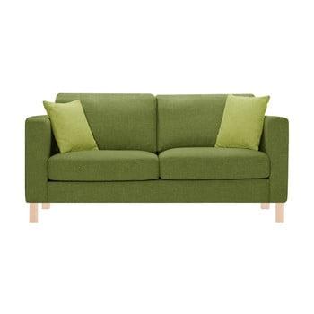 Canapea pentru 3 persoane Stella Cadente Maison Canoa verde, cu 2 perne verzi de la Stella Cadente Maison