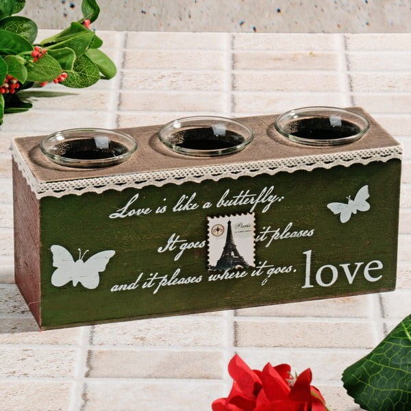 Dřevěný svícen Butterfly Love