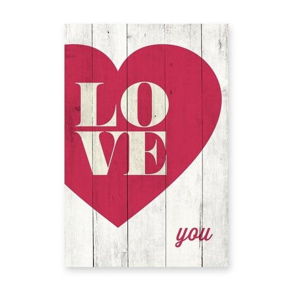 Tabliczka ścienna z drewna sosnowego Really Nice Things Love You, 40x60 cm