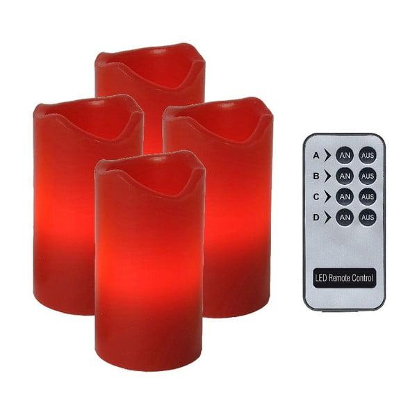 Sada 4 LED svíček s dálkovým ovladačem Best Season Red