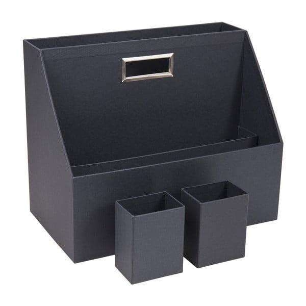 Set 2 tmavě šedých kelímků na psací pomůcky a šanonu Bigso