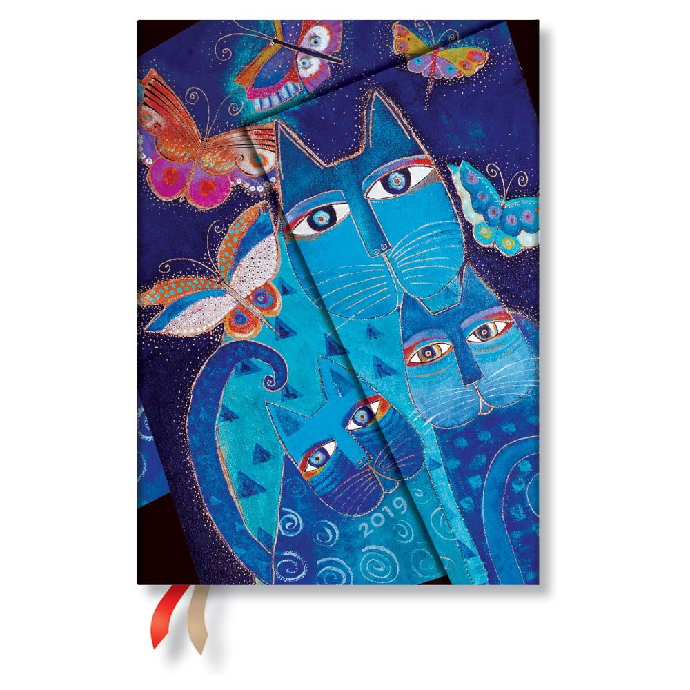 Diář na rok 2019 Paperblanks Blue Cats & Butterflies Horizontal, 13 x 18 cm