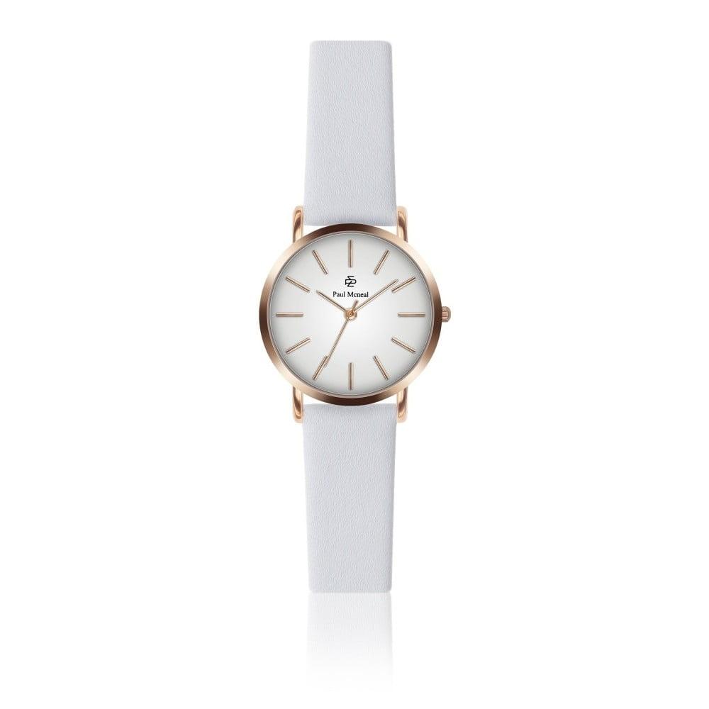 Dámské hodinky s bílým koženým řemínkem Paul McNeal Soa, ⌀ 2,8 cm