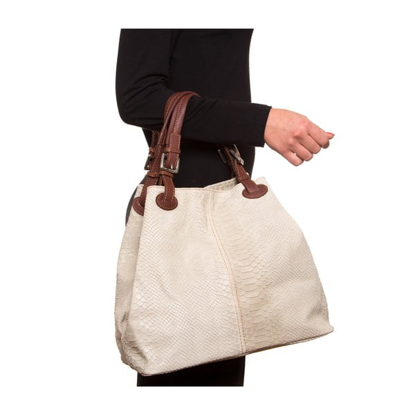 Kožená kabelka Luisa Vanini 841, krémová