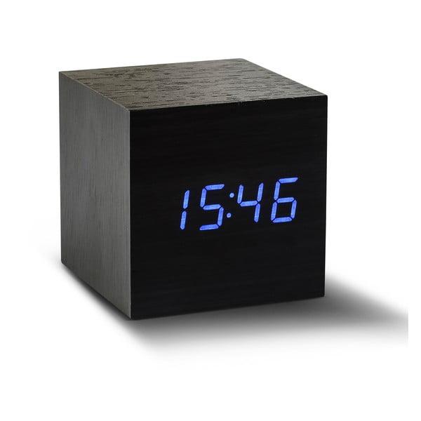 Ceas deșteptător cu LED Gingko Cube Click Clock, negru - albastru