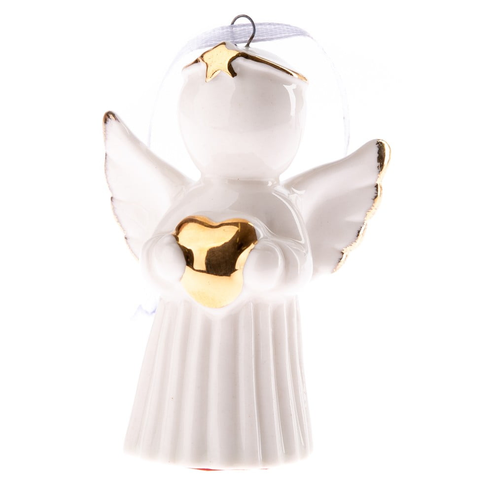 Bílý porcelánový závěsný anděl se srdcem Dakls