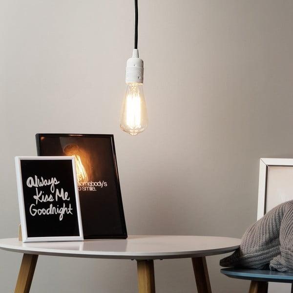 Závěsné svítidlo s bílým kabelem a stříbrnou objímkou Bulb Attack Cero