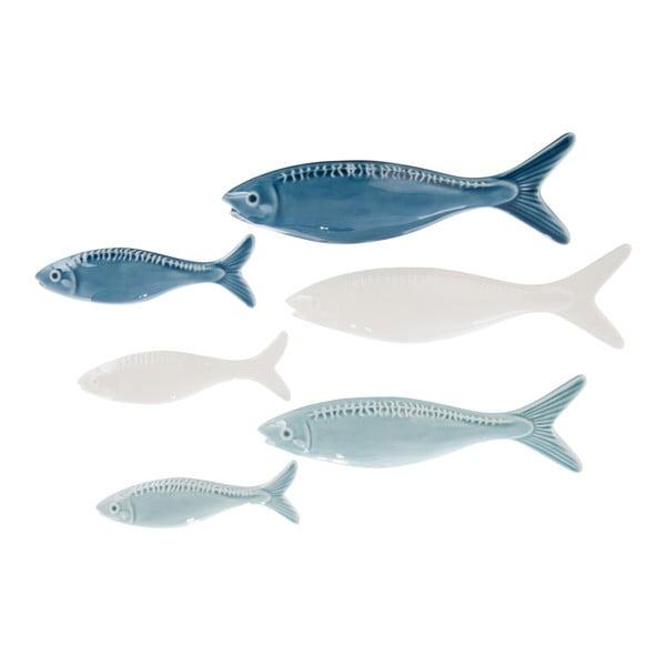 Sada 3 keramických dekorací Fish Blue, 21x7 cm