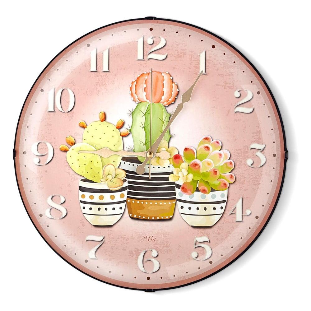 Růžové nástěnné hodiny The Mia Cacti