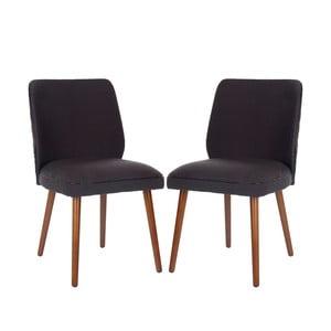 Sada 2 židlí Ethel, černošedé