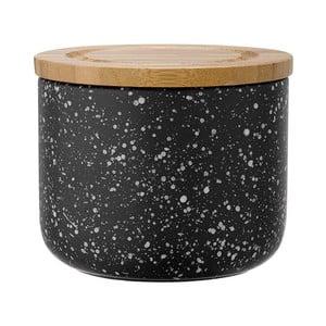 Recipient din ceramică cu capac din bambus Ladelle Speckle, înălțime 9 cm, negru