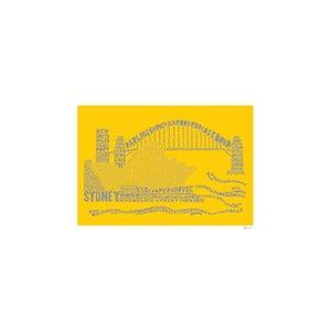 Plakát Sydney Yellow&Grey, 50x70 cm