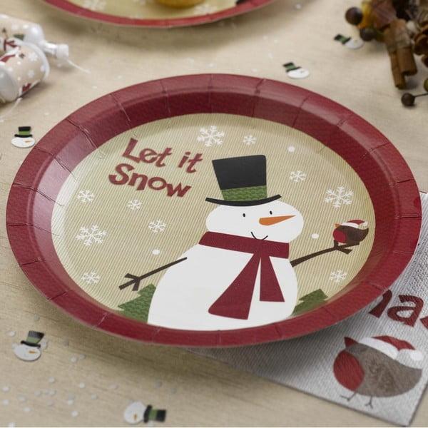 Sada 8 papírových talířů Neviti Let It Snow Snowman