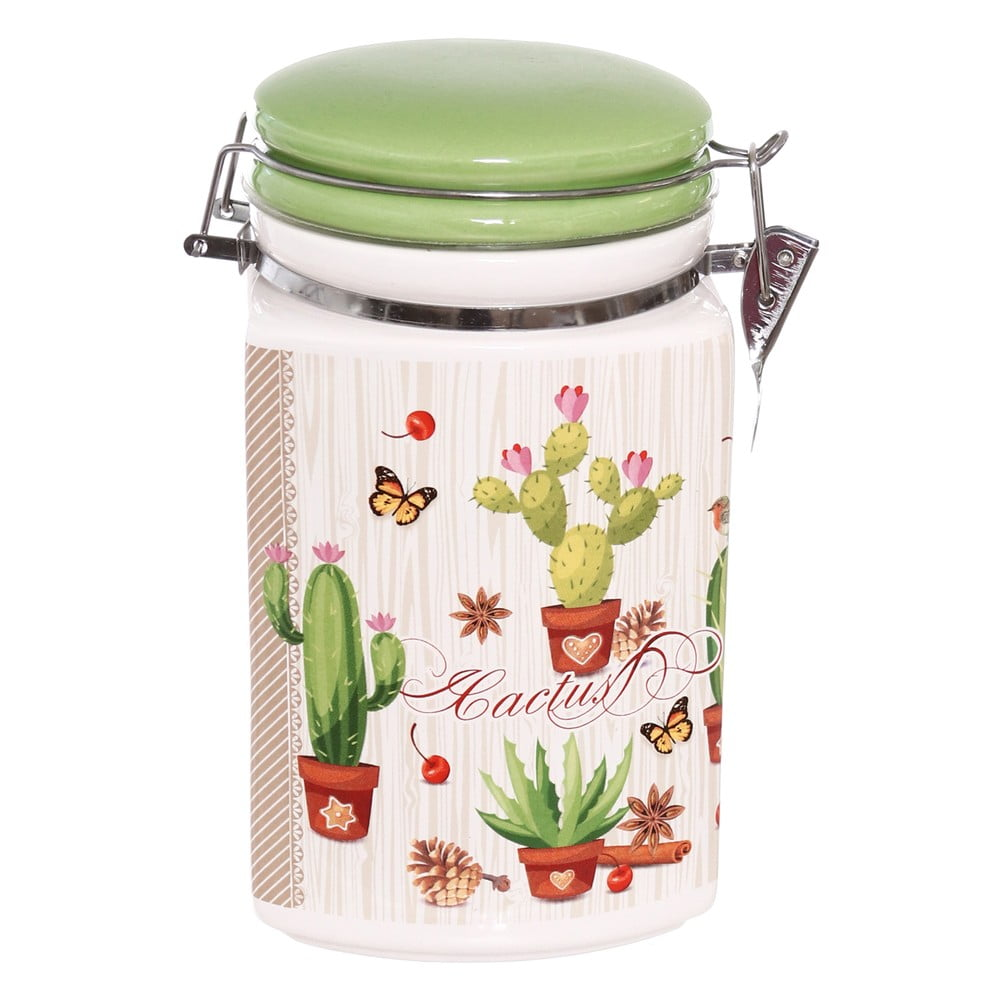 Keramická uzavíratelná dóza Kasanova Cactus, 1,5 l