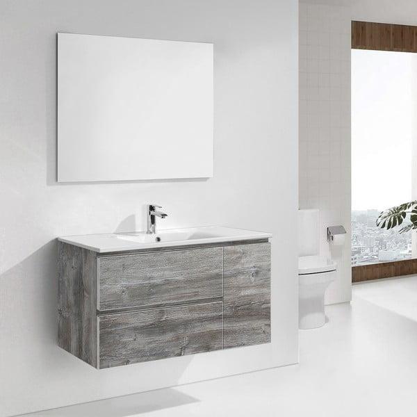 Koupelnová skříňka s umyvadlem a zrcadlem Happy, vintage dekor, 100 cm